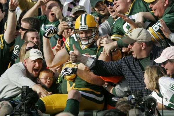 Green Bay Packers #87 Jordy Nelson enjoys the Lambeau Leap after scoring a touchdown in the first half  during a 30-24 win by the Green Bay Packers Sunday, November 22, 2009 at Lambeu Field in Green Bay, Wisconsin. Photo by Rick Wood/RWOOD@JOURNALSENTINEL.COM